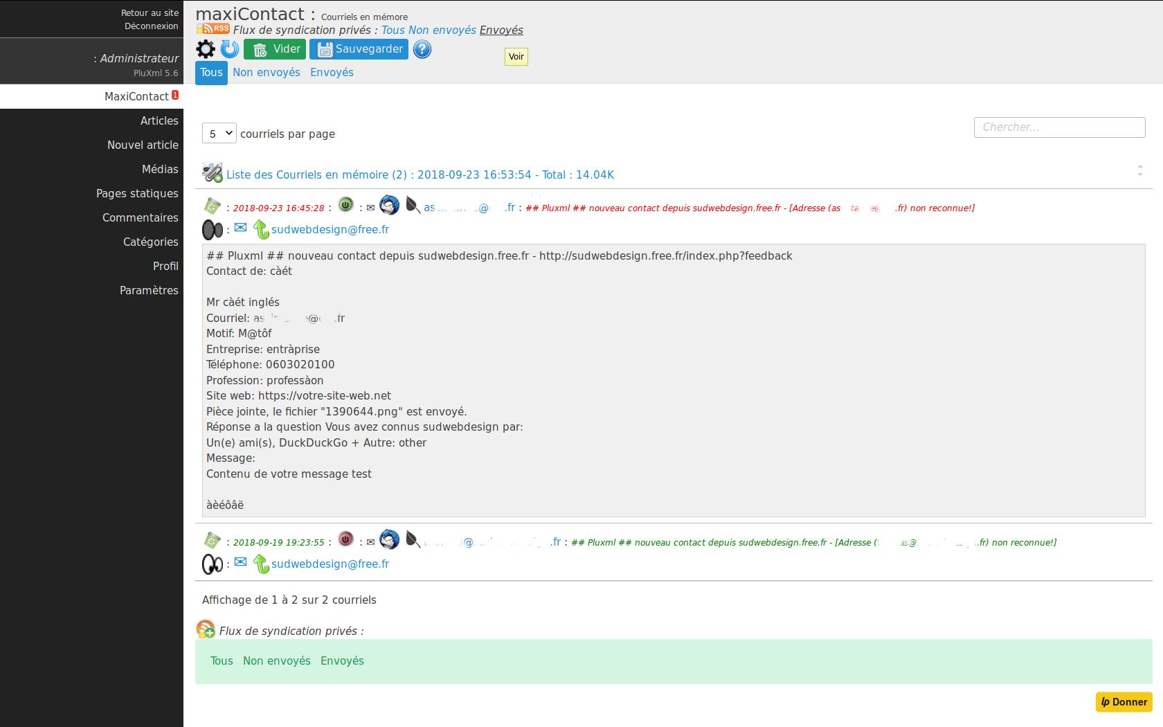 Admin des courriels de MaxiContact